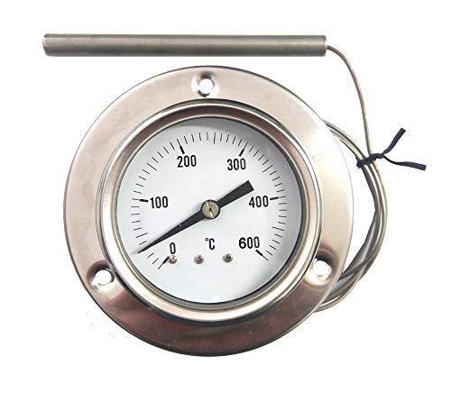 REDPOINT PIROMETRO/termometro 0-600° Inox per FORNI Pizza, BBQ,FORNI a Legna, etc.