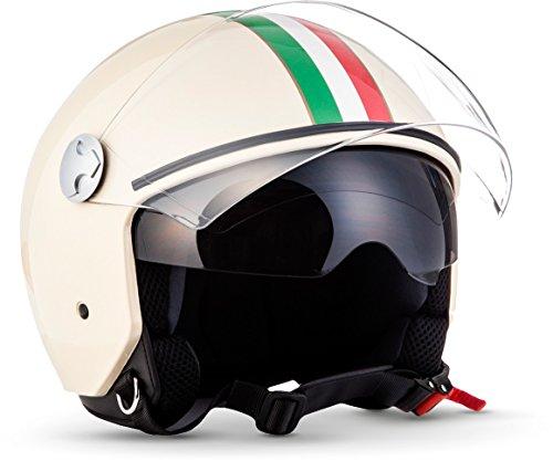 "Armor · AV-63 ""Italy Creme"" (yellow) · Casco moto Demi Jet · Retro Urbano Helmet Urban Scooter motocicleta · ECE certificado · Separate Visors · Click-n-Secure™ Clip · M (57-58cm)"