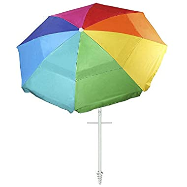 AMMSUN New 8 Panels 7 Ft Sand Anchor Beach Umbrella with Tilt UV Protection Beach Umbrella Silver Coating Inside UPF50+ Rainbow