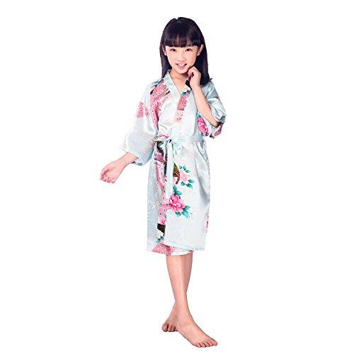 Yying Satin Kimono Robe für Mädchen Pfau und Blüten Bademäntel Morgenmantel für Spa Hochzeit Geburtstag