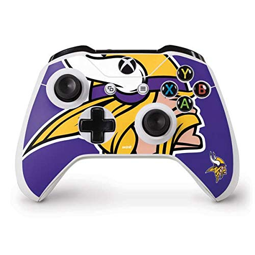 Skinit Decal Gaming Skin for Xbox One S Controller - Officially Licensed NFL Minnesota Vikings Retro Logo Design