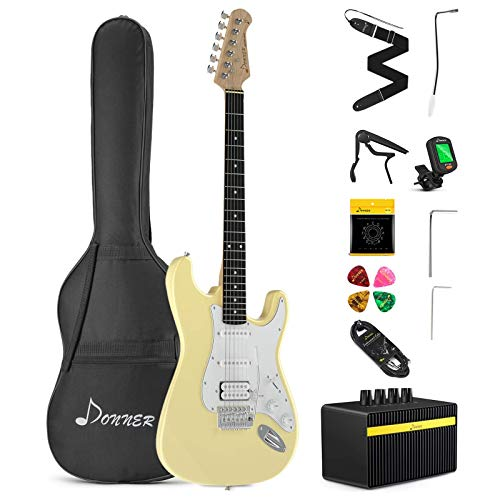 Donner DST-102W Solid Body 39 Inch Full Size Electric Guitar Kit White, Beginner Starter, with Amplifier, Bag, Capo, Strap, String, Tuner, Cable, Picks