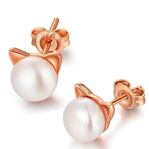 jiamiaoi Pendientes de gato para mujer Pendientes de perla de gato Pendientes de perlas de plata 925 oro rosa para mujer Pendientes de perla de gato para niñas Joyas de gato Pendientes de niña