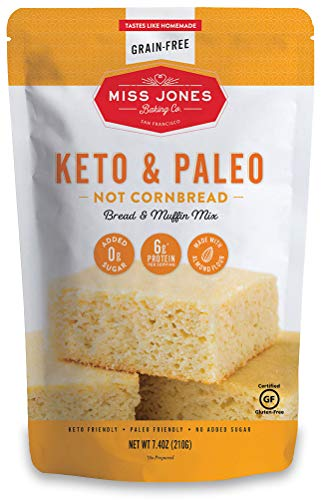 Miss Jones Baking Keto Not Cornbread Muffin Mix - Gluten Free, Low Carb, No Sugar Added, Naturally Sweetened Desserts & Treats - Diabetic, Atkins, WW, and Paleo Friendly