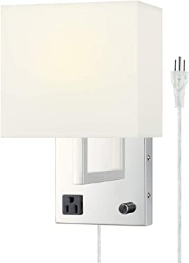 Wall Lamp Light with Outlet Living Room Beside Wall Sconces Stainless Steel Opaque Ivory Square Linen Shade