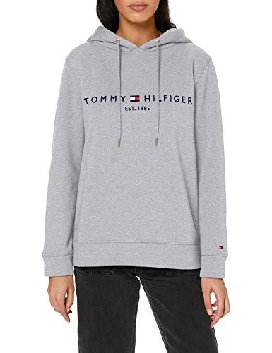 Tommy Hilfiger Damen Th ESS Hilfiger Hoodie Ls Pullover, Light Grey Heather, M
