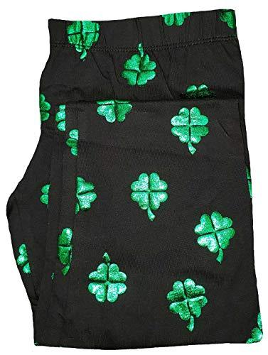 No Boundaries St. Patrick's Day Shamrock All Over Black Ankle Legging - X-Large