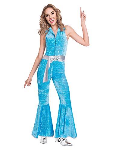 Women's Blue Disco Jumpsuit Costume, Sizes 10-20 available.