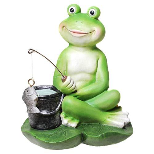 Garten Deko Frosch Angler Dekofrosch Froschdekofigur Gartenfigur Gartendeko Gartenteichfigur Deko Figur Frosch