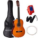 Classical Guitar Acoustic Full Size 39 inch Guitar 6 Nylon Strings Guitar for Beginners Junior Kids Starter Kits with Waterproof Bag Guitar Clip Tuner Strap Extra Strings