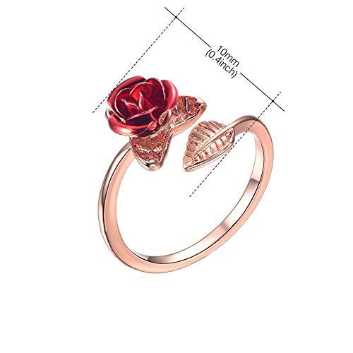Maritown - Anillo de Oro Rosa y Oro Rosa y Plata con Abalorios de Rosa