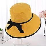 2020 Sommer Damen Eimer Hut Outdoor-Reise atmungsaktiven Freizeitbogen einfarbige Sonnencreme losen Hut gelb