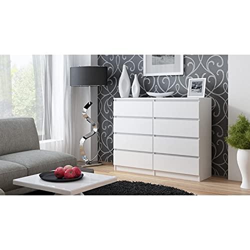 3xeLiving Cómoda Elegante y espaciosa Demii 8 cajones 120 cm, Blanco, Sala de Estar, la Oficina, el Dormitorio