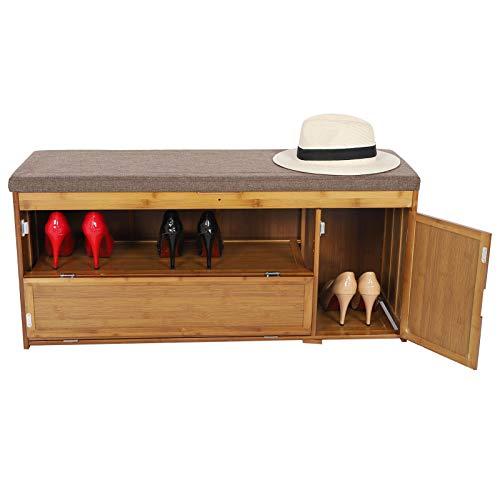 GOTOTOP Banco de Zapatos de Bambú con Cojín, Zapatero de Almacenamiento con Asiento y 3 Compartimentos con Puertas, Carga 100kg, 100 x 30 x 69cm