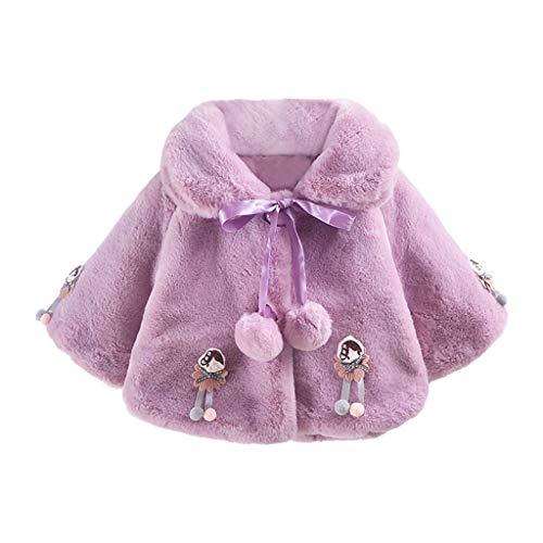Great Deal! Kids Baby Girls Faux Fur Fleece Jacket Lovely Pompoms Velvet Collar Cape Cloak Jacket Wi...