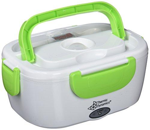Thermic Dynamics Lunchbox Fiambrera Eléctrica para Coches, Blanco / Verde, 23 x 10,5 x 16,5 cm