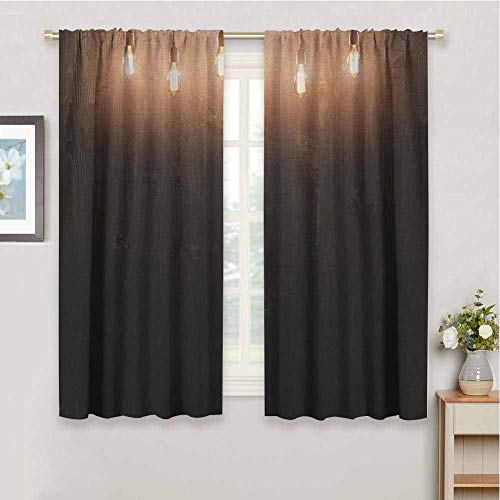 DIMICA Shading Insulated Curtain Industrial Wooden Dark Interior Room with Classical Edison Innovation 2 Panel Sets W52 x L63 Inch Dark Brown Yellow and Cinnamon