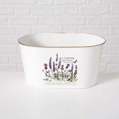 Boltze Gruppe Ovaler Metall Blumentopf 'Lavendel' im Vintage Look, Maße (H x B x T): 11,5 x 22,5 x 14 cm, weiß, für Pflanzen und Kräuter, schönes Geschenk oder Mitbringsel im Landhausstil