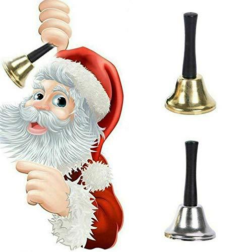 JAMAN Campanas de mano de Santa Claus para decoración de Navidad, sonajeros de acero inoxidable, campanas de mano para escuela, campanas para mascotas