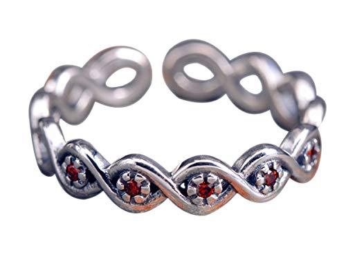 NicoWerk Damen Silberring Geflochten aus 925 Sterling Silber Vintage Schmal mit Stein Rot Granat Verstellbar Offen SRI408