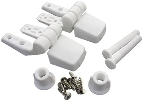 LASCO 14 1039 White Plastic Toilet Seat Hinge with Bolts and Nuts