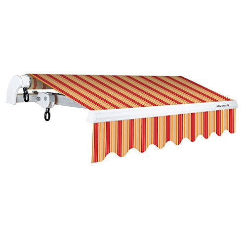 ADVANING MA1210-A063N S Series, Premium Quality Retractable Patio Awning, 100% Solution-Dyed UV80+ Sun Shade Easy UV Sunshade with Manual Hand Crank, 12'x10', Red/Beige Stripes