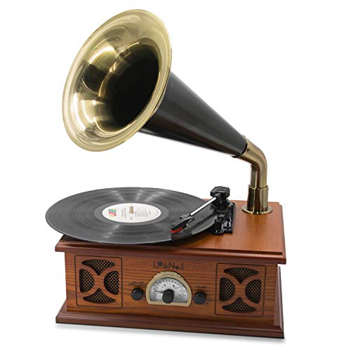 "LP&NO.1 Vintage Record Player, Classic Turntable Support 7""/10""/12"" Vinyl, All in One Gramophone with Premium Horn, Built-in Speaker and Bluetooth/USB/FM Radio(FM/AM) (Brown Wood)"