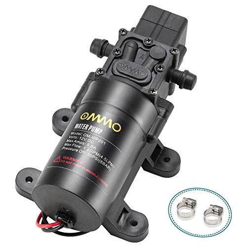 OMMO 12V RV Fresh Water Pump, Diaphragm Pump with 2 Hose Clamps, 60W Self Priming Sprayer Pump with Pressure Switch 4.5 L/Min 1.2 GPM 85 PSI for Caravan, RV, Boat, Marine