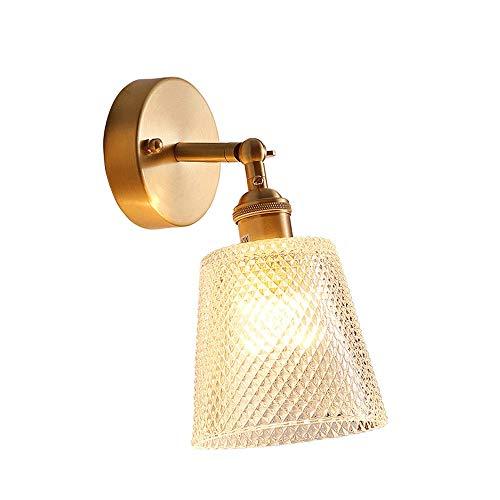 Siet Modern Wall Sconence, lámpara de pared de latón giratorio de 180 ° con pantalla de cristal Adecuado for el corredor del dormitorio, socket E27 1 Accesorios de iluminación de montaje en pared lige