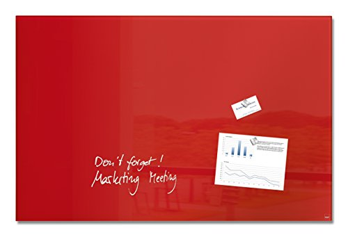 Sigel GL142 Magnetic Glass Board/Whiteboard/Magnetic Pinboard Artverum, 100 x 65 cm, red