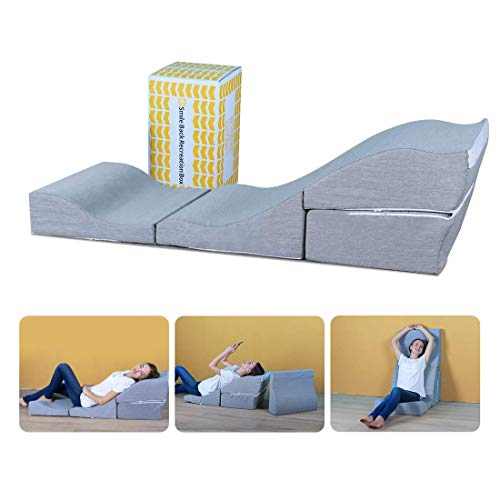 Smile Back Recreation Box, Ajustable Floor Chair Sofa, Memory Foam Bed Wedge Pillow Set, Adjustable Pillow for Back, Neck and Leg, Transformable Folding DIY Sleeper, Triangle Pillow, Removable Cover