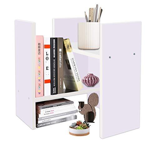 DL furniture Expandable Wood Desktop Storage Organizer Multipurpose Desk Bookshelf Display Shelf Rack Counter Top Bookcase for Office Home (Style 1, Light Purple)
