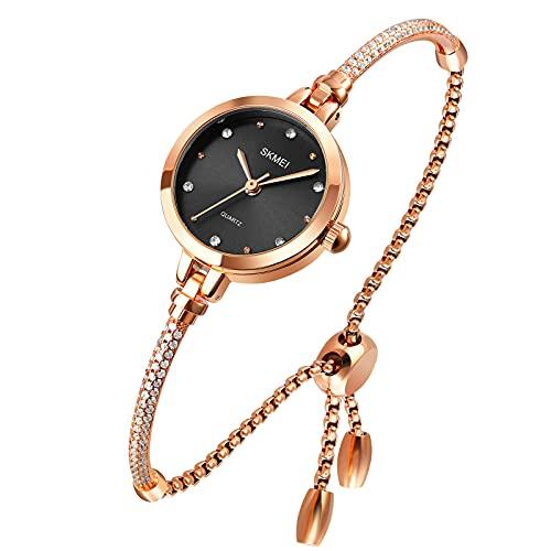 Relojes para Mujer Reloj de Cuarzo analógico Mosaico con Pulsera de Diamantes Reloj de Vestir para Mujer Reloj de Pulsera Impermeable con Correa de Oro Rosa