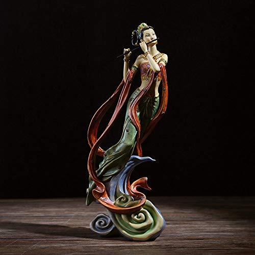 FENGJIAREN Estatuas,Estatuillas,Esculturas,Flying Carácter Verde, Figuras Modelo Dama Home Salón Armario Bodega Regalos De Boda Decoración De Estilo Chino Resina Artesanía Creativa