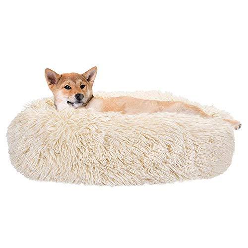 SlowTon Haustierbett Schöne Tierbett Hundesofa Katzensofa Kissen, Donut-Kuschelnest Warmes weiches Plüsch-Hundekatzenkissen mit Schwamm-rutschfestem Boden für kleine, mittelgroße Haustiere