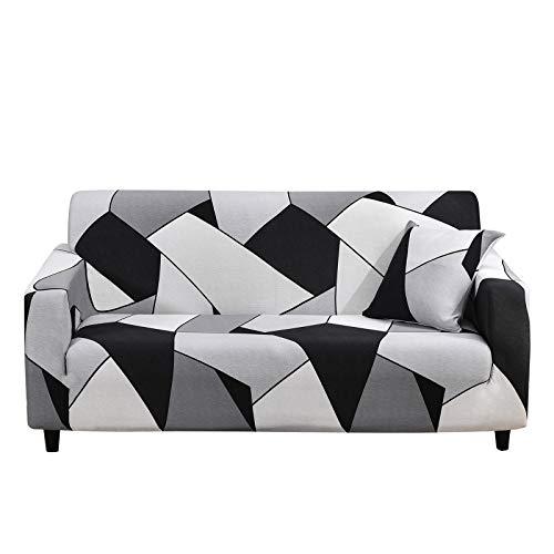 SHANNA Funda de sofá elástica de 3 plazas, Funda Antideslizante para sofá, Suave Cubierta con 1 Funda de Almohada (3 plazas, Negro, Blanco y Gris)