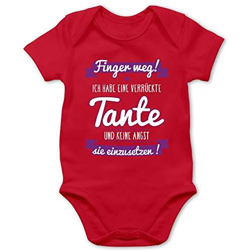 Shirtracer Sprüche Baby - Ich Habe eine verrückte Tante Lila - 6/12 Monate - Rot - Baby oma und Opa - BZ10 - Baby Body Kurzarm für Jungen und Mädchen