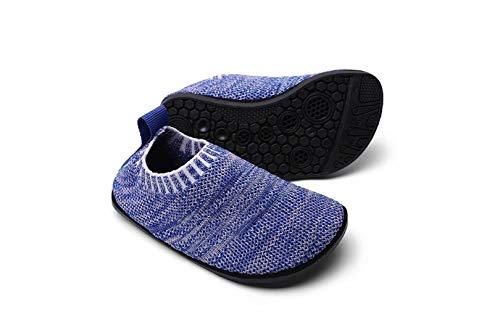 Sosenfer Kinder Hausschuhe Jungen mädchen Anti-Rutsch Sohle Kleinkinder Schuhe Baby Slipper Unisex-BLAN-21