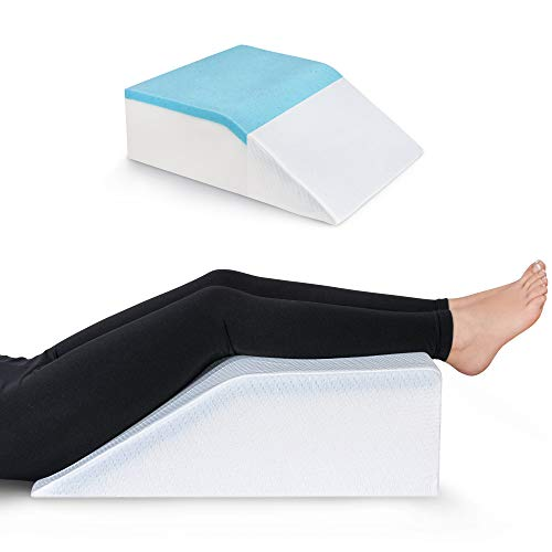 Leg Elevation Pillow with Cooling Gel - Memory Foam Leg Rest - Elevating Foam Wedge- Relieves Leg Pain, Hip and Knee Pain, Improves Blood Circulation, Reduces Swelling - Breathable, Washable Cover