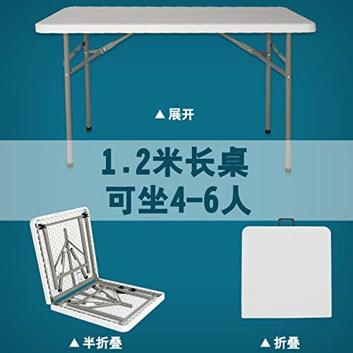 LGFSG Mesa Plegable 1.2m / 1.8m / 2.4m Mesa Plegable Mesa de Comedor Rectangular portatil Oficina Minimalista para Exteriores, Longitud 1.2m, Blanco