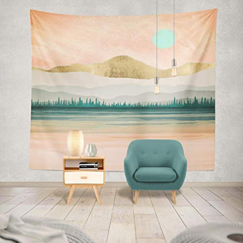 Kutita Tapestry Spring Forest Lake Trees Hills Mountains Water Reflection Watercolor Gold Green Pink Abstract Landscape Modern Wide Wall Hanging for Bedroom Living Room Dorm (60 x 80 inches)