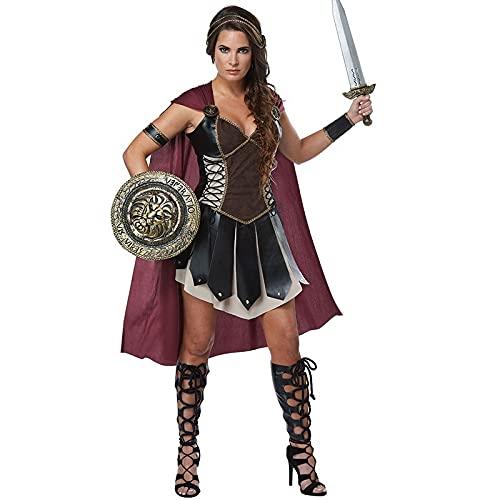 Disfraz De Xena De Guerreros Medievales De Halloween para Mujer, Gladiador Romano Adulto, Luchador Espartano, Princesa Romana, Soldado, Soldado, Cosplay (Color : Brown, Size : XL)