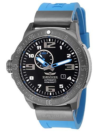 HÆMMER Navy Diver II | Blue Ocean | Herren Automatikuhr aus Edelstahl | Exklusiv Limitierte Taucher-Uhr mit FKM Kautschuk Armband | Wasserdicht bis 300m | Kratzfestes Saphirglas
