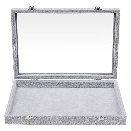 BELLE VOUS Joyero - (35cm x 24cm x 5cm) Gris, Caja de Presentación de Terciopelo con Tapa de Vidrio con Cerradura para Collares, Pendientes, Pulseras, Tobilleras, Colgantes y Anillos