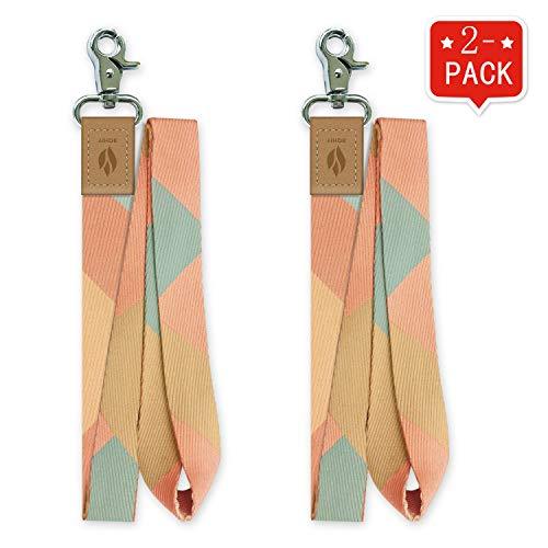 Yihor 2er Pack ID Lanyard Abzeichen Kartenhalter Lanyard Schlüsselbund Schlüsselband Telefon Pink Blue Lanyard für Frauen Männer (Zinnober)