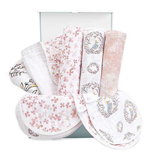 aden + anais Baby Gift Set for Newborn Boy & Girl, 8 Piece Baby, Wrapped with Keepsake Box, Songbird
