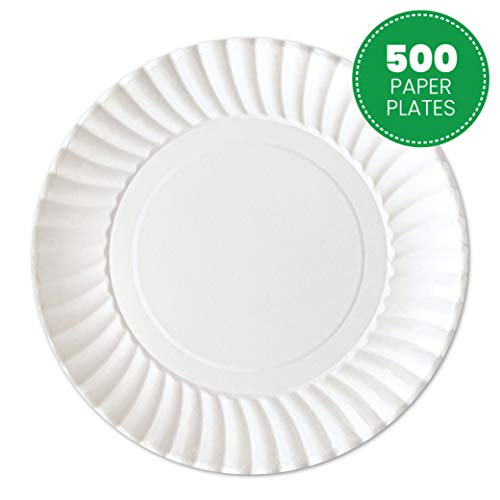 Plasticpro Disposable White Uncoated Paper Plates 7'' Inch Pack of 500