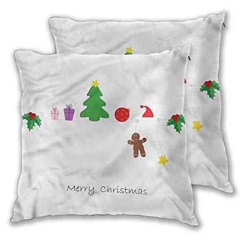 Xlcsomf Kids Christmas Pillowcases, 24 x 24 Inch Celebration of Noel Room decoration Christmas decoration Set of 2