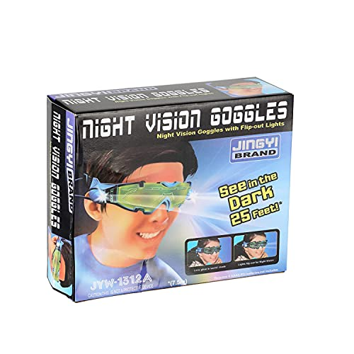 Kids Night Vision Goggles, Spy Gear, LED Light Beams, Adjustable Elastic Band Toy Glasses, With Flip-Out Lights Green Lens, Spy Role Play, Children's Gifts