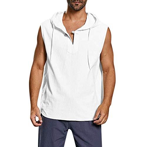 Sylar Camisetas Sin Mangas Hombre Camisetas Hombre Tirantes Chaleco con Capucha Camisetas Hombre Verano Color Sólido Moda Camisetas Top Deportivas Hombre Camisas De Algodón Y Lino